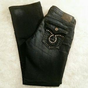 """EUC Big Star Black """"Liv Boot"""" Factory Faded Jeans"""